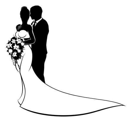花嫁と花婿の夫妻結婚式シルエット 写真素材 - 82349706
