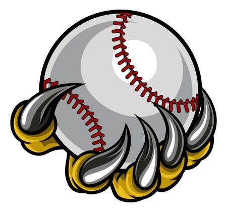 Monster claw holding Baseball Ball Illustration
