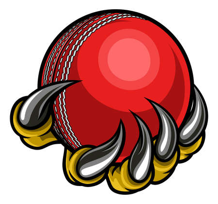Monster of dier klauw houden Cricket Ball Stock Illustratie