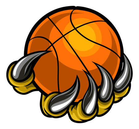 Monster or animal claw holding Basketball Ball