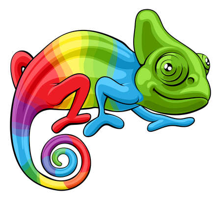 Chameleon Cartoon Rainbow Character 일러스트