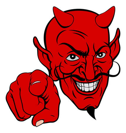 Devil Pointing Cartoon Character