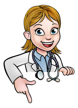Vrouw Doctor Cartoon Character Pointing