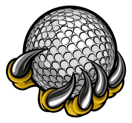 Griffe de monstre ou d'animal tenant un ballon de golf Banque d'images - 82940285