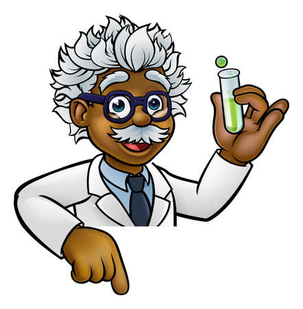 Scientist Cartoon Character Holding Test Tube