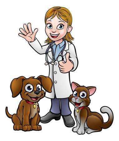 Dierenarts met huisdier kat en hond stripfiguren