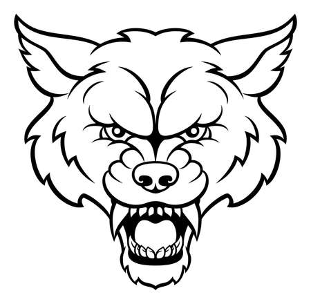 An angry wolf sports animal character mascot