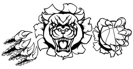 Ein schwarzer Panther wütend Tier Sport Maskottchen mit einem Basketball Ball und brechen durch den Hintergrund mit seinen Klauen Standard-Bild - 83032489