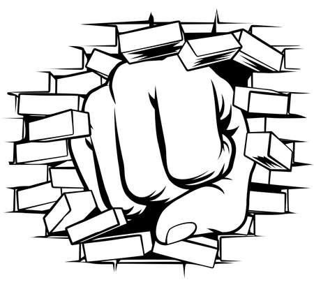 A pop art comic book cartoon fist punching a through a brick wall