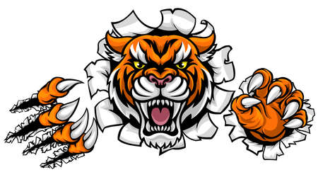 Tiger Background Claws Breakthrough Illustration