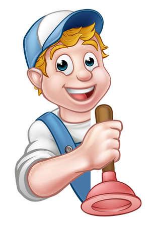 A cartoon plumber or handyman holding toilet plunger