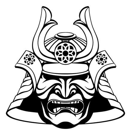 An illustration of a stylised samurai mask and helmet