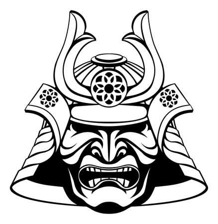 Een illustratie van een gestileerde samurai masker en helm Stock Illustratie