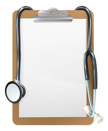Background medical frame illustration of a clipboard with a doctors stethoscope