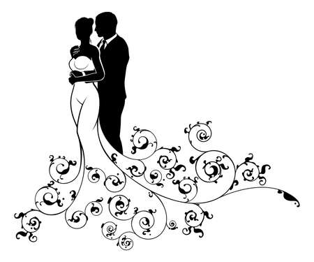 Wedding couple bride and groom husband and wife in silhouette, in a white bridal dress gown and an abstract floral pattern