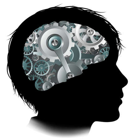 Silhouette di un ragazzo bambino con un cervello costituito da ingranaggi o cogs lavorano parti della macchina Archivio Fotografico - 83313358