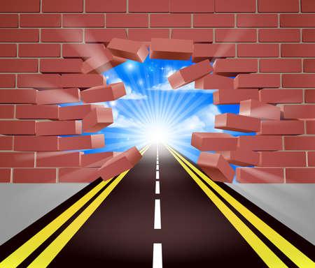 Road Breaking Through Wall