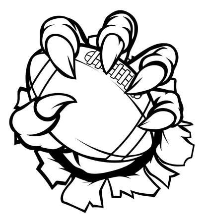Monster animal claw holding American Football Ball Vektorové ilustrace