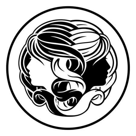 Circle Gemini twins horoscope astrology zodiac sign icon Illusztráció