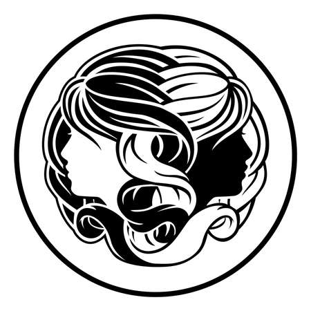 Circle Gemini twins horoscope astrology zodiac sign icon Illustration