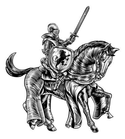A knight holding a sword and shield on the back of horse in a medieval vintage woodcut engraved or etched style