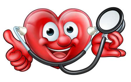 Stethoscope Heart Cartoon Character Zdjęcie Seryjne - 83433531