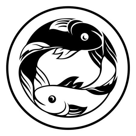 Icona di pesce segni zodiacali Pesci Archivio Fotografico - 83433533