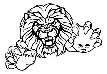 Lion Bowling Ball Sportowe maskotki Ilustracje wektorowe