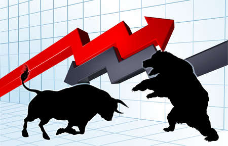 ブルズ株式市場概念対クマ。