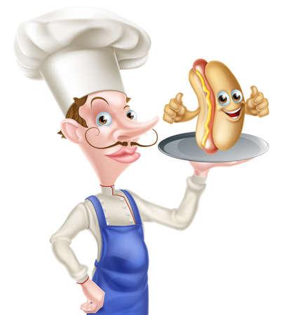 Cartoon Chef Hotdog Thumbs Up.