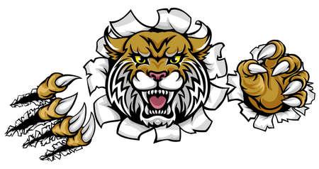 Angry Wildcat Background Claws Doorbraak.