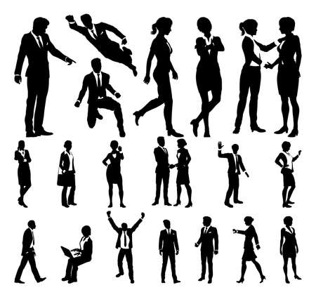 Silhouette Business People. Vector illustration.