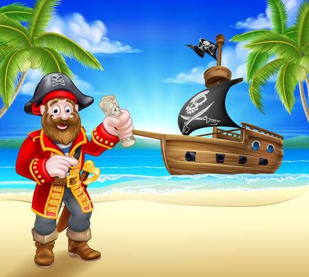 Pirate Cartoon Character on Beach Illustration