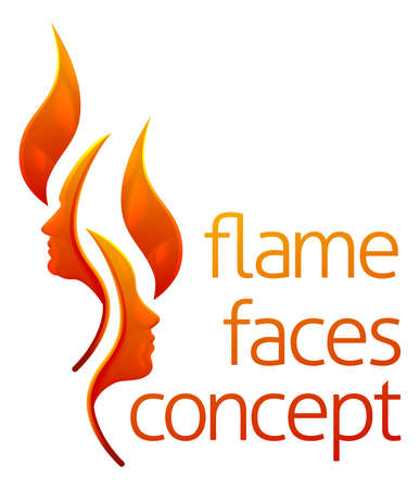 Flame Faces Concept, text in orange ink with abstract illustration for logo type design