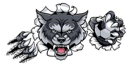 Wolf Soccer Mascot Breaking Background