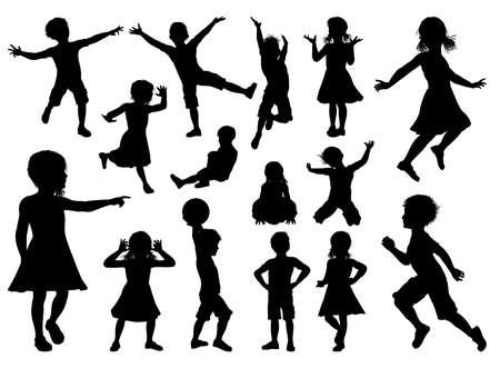 子供たちのシルエットのセット  イラスト・ベクター素材