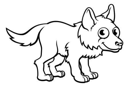 Wolf Cartoon Character in outline illustration, can be used for coloring book object,  isolated on white