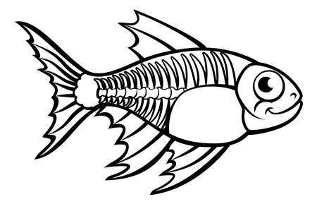 X-Ray Tetra Fish ( Pristella maxillaris) in Cartoon Character outline illustration can be used for drawing book object