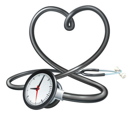 Stethoscope Heart Clock Concept Vector illustration.