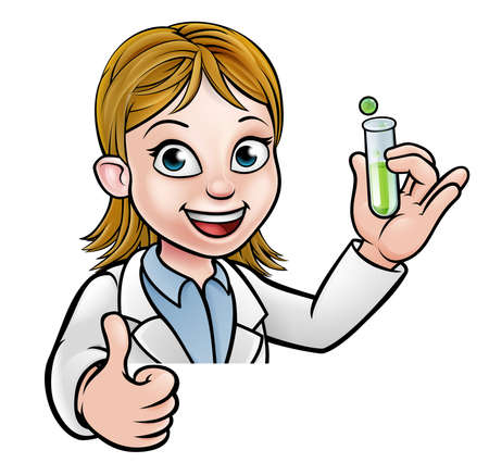 Cartoon Scientist Holding Test Tube Sign Çizim