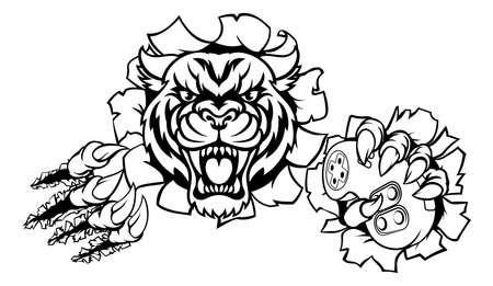 Tiger Animal Esports Gamer Mascot on white background, vector illustration.