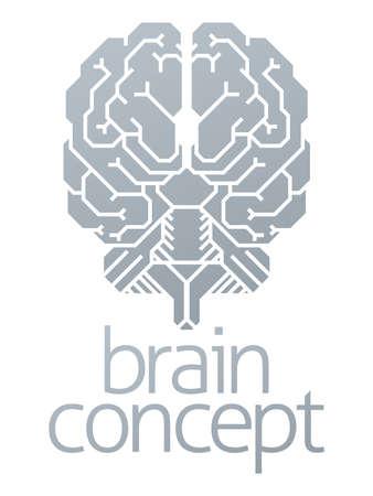 흰색 배경, 벡터 일러스트 레이 션에 두뇌 개념입니다.