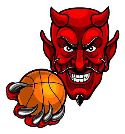 Duivel Basketbal Sport Mascotte op witte achtergrond, vectorillustratie.