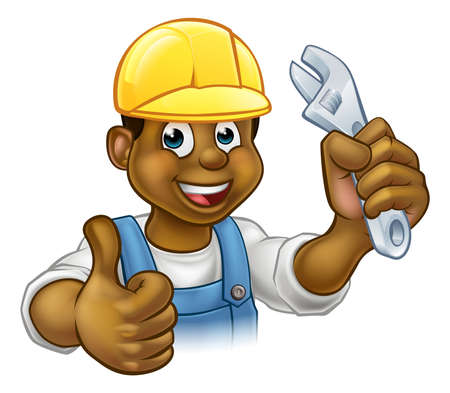 Handyman Mechanic or Plumber With Spanner on white background, vector illustration. Çizim