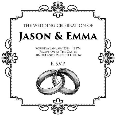 Wedding invitation template with vintage border and wedding ring design Vettoriali