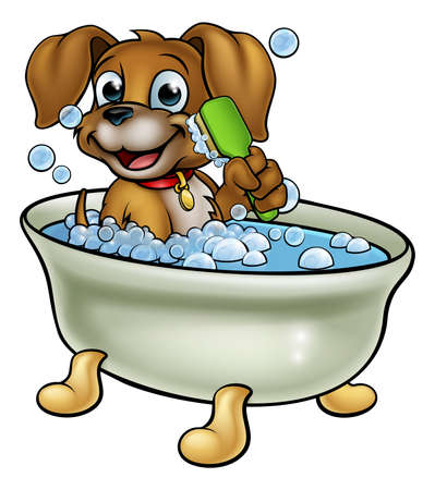 Cartoon Dog in the Bath