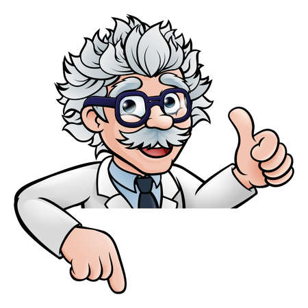 Scientist Cartoon Above Sign on white background, vector illustration.