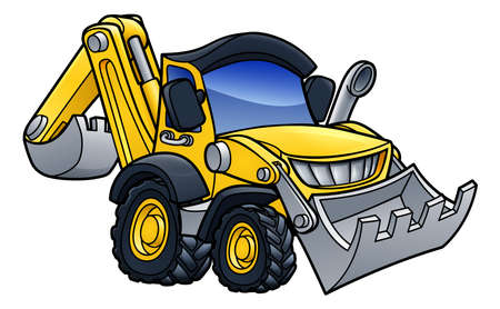 Digger Bulldozer Cartoon on white background, vector illustration. Иллюстрация