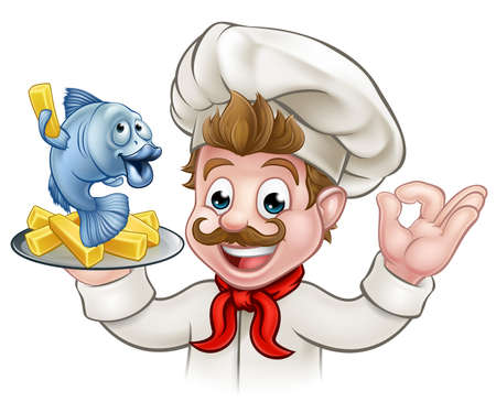 A cartoon chef character holding fish and chips meal