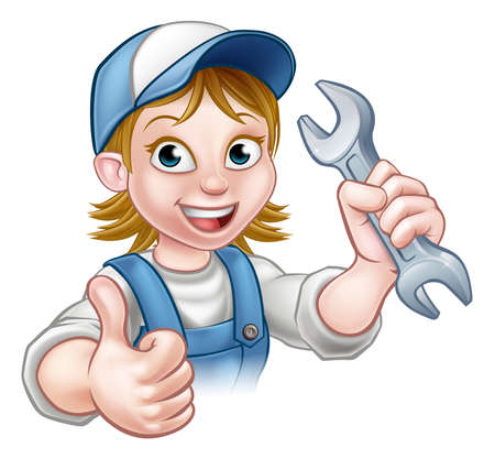 Female Mechanic or Plumber with Spanner Illustration